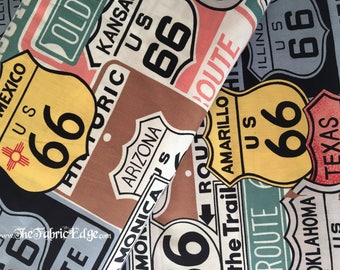 The Fabric Edge- Historic Route 66 by Alexander Henry in Sage- Cotton Woven by the Yard- TheFabricEdge