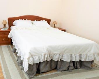 Ruffle Duvet Cover Set Oatmeal Duvet Cover Queen Ruffled bedding Linen duvet cover Ruffle Bedding Linen bedding