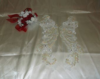 Ivory Sequin/Rhinestone Beaded Applique