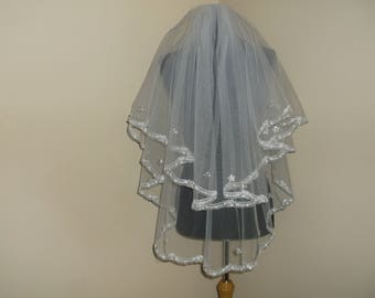 White 2 Tier Rhinestone/Sequin Beaded Lace Wedding Veil