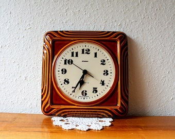 Vintage ceramic wall clock, Staiger, quartz, made in Germany.