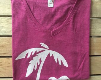 Women's V-Neck Tri Blend Raspberry T-Shirt With Two White Palm Trees