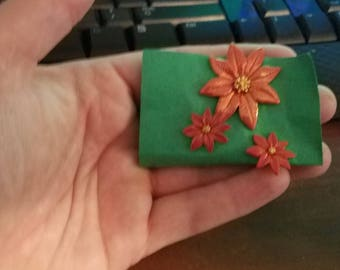 Poinsettia pin and earring set