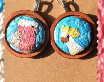 Cockatoo and Galah  - embroidered earrings