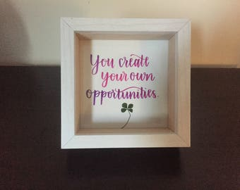 Opportunities Quote, Inspirational Quote Framed, Handwritten Quote, Four Leaf Clover Framed, Inspirational Saying, Modern Calligraphy Quote