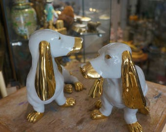 Pair of white and gold style earthenware dogs Dachshund 70s