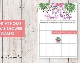 Bridal Bingo Bridal Shower Game. Instant Download. Printable Bridal Shower Game. Pink and Purple Flowers. - 03