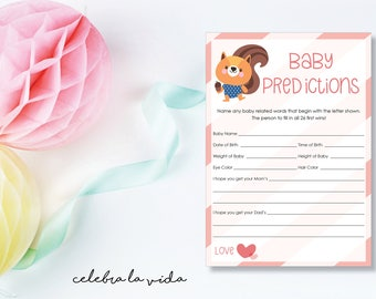 Baby Predictions. Baby Shower Game. Instant Download. Printable Baby Shower Baby Girl Game. Pink