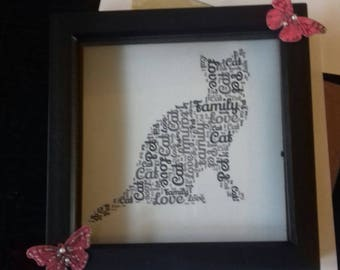 Cat shaped wordart in 3D box frame  - gift