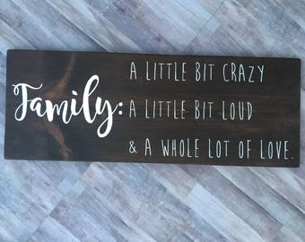 Wooden sign   Home Decor   rustic home decor   livingroom decor   A little bit crazy   Wall Decor   Housewarming gift   Mother's day gift
