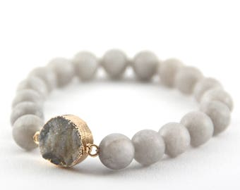 Gray Agate Druzy Bracelet, Frosted Beads, Matte Beads, Gray Gemstone Bracelet, Gray Beads, Gray Druzy Pendant