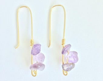 Amethyst earrings, purple earrings, crystal earrings, boho jewerly, quartz earrings, gemstone earrings