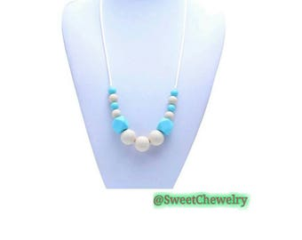Handmade Silicone teething necklace. Great for all ages.