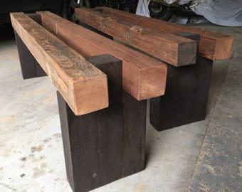 Custom ourdoor benches - reclaimed pine and cedar materials