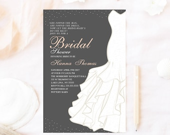 Bridal shower invitation, Wedding dress bridal shower invitation, Bridal shower invitation, dress bridal shower invite,elegant bridal shower
