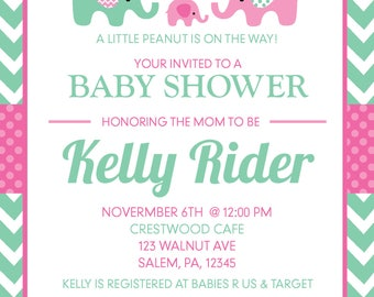 5x7 Elephant Baby Shower Invitation- Printable Download