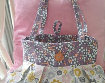 Pretty Fabric purple and grey floral trim print bag, handbag, shopping bag