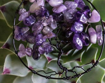 Simple Tree of Life Pendant-Healing Crystal- Crystal Healing- Boho/ Indie Style- Fun Gifts- Wearable Art- Wire Wrap- Amethyst- Rose Quartz