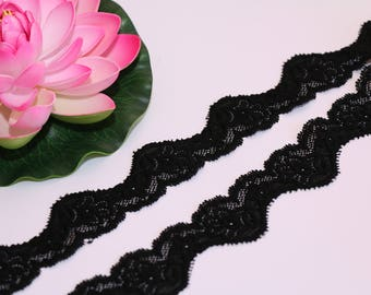 1 m (1.09 yd) narrow stretch lace - lace elastic trim in Black