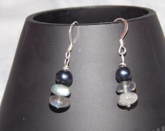 Genuine Black Freshwater Pearl, Labradorite and Sterling Silver Earrings