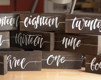 Hand-Crafted Custom Calligraphy Table Numbers - Wood Sign