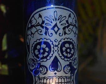 Candy Skull ~ Cobalt Blue Etched Hanging Wine Bottle Lantern