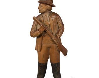 handcarved wood hunter whip holder 1890