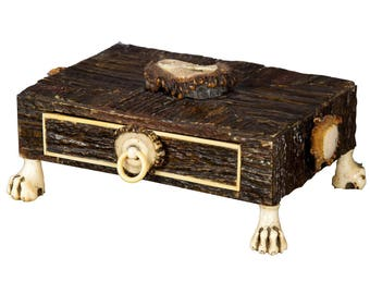 rare miniature antler drawer casket 1860