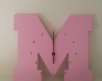 "Wooden Letter ""M"" Clock   Kids Clock   Wall clock   Nursery Clock"