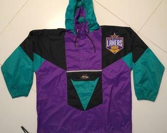 Los Angeles Lakers windbreaker Jacket rain Purple NBA 90s vintage - Men size XL