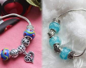 Pandora bracelet. Pandora bracelet style. Blue. Purple