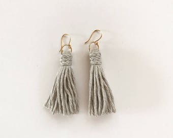 Light Gray Tassel Earrings, Statement Earrings, Lightweight Earrings, Gray Earrings, Statement Jewelry, Gift For Her