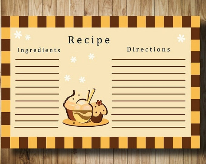 Printable gifts.Digital Card Recipe Dessert Gift for women. Printable card to record recipes for cooking.