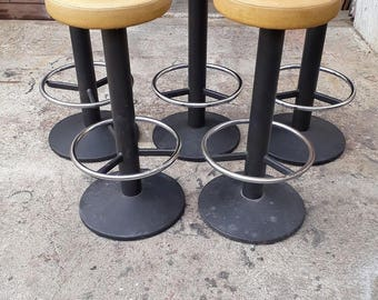 Set of 5 French vintage 1980 ep workshop stool