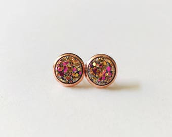 Faux druzy studs/magenta gold druzy earrings/the caprice