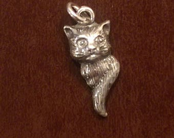 Sterling silver cheshire cat charm necklace pendant or earrings vintage style jewelry