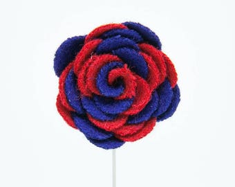 Ashley Blue/Red Flower Lapel Pin