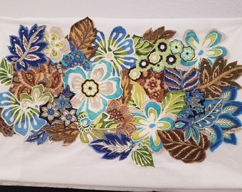 Floral Fabric Collage Wall Art