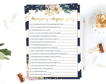 Floral Nursery Rhyme Game Baby Shower, Watercolor Flowers and Navy Stripes, Baby Shower Games Printable Modern Baby Shower Gold Confetti GF1