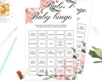 Boho Baby Shower Game Cards Baby Bingo Prefilled Floral Baby Shower Games Printable Bingo for Baby Shower Instant Download Pink Flowers WF1