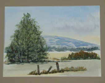 Mountain Meadow original hand painted watercolor