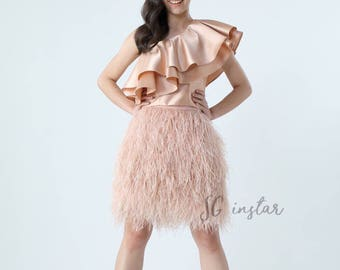 Nataly ostrich feathers skirt