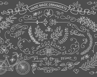 Rustic hand drawn ornaments. Vector clipart