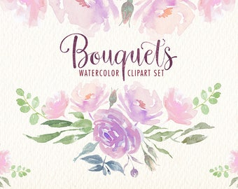 Watercolor Floral Bouquets PNG clipart images of watercolors Ideal printable posters poster cards stickers Congratulations and more.