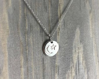 Hand Stamped Silver Moon and Star Necklace Circle Pendant