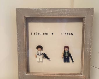 Han Solo and Princess Leia figures frame. Valentine birthday gift.