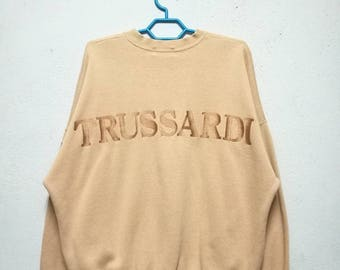 Vintage Trussardi Embroidered Big Logo Sweater Sweatshirt