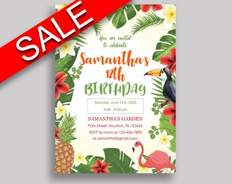 Tropical Birthday Invitation Tropical Birthday Party Invitation Tropical Birthday Party Tropical Invitation Boy Girl flamingo hawaiian 8LFM8