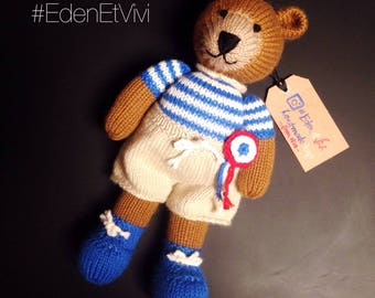 Knitted bear and his clothes made by hand (handmade Teddy bear with his outfits)