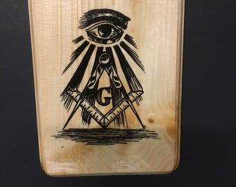 Masonic desing wood print.